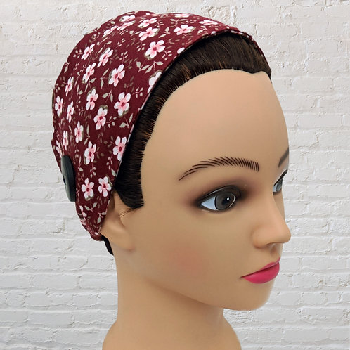 Ear-Saver Tie Headband - Red Floral