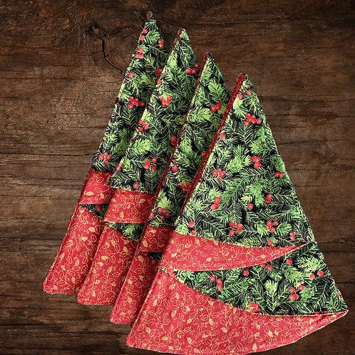 Reversible Christmas Tree Napkins - Pine