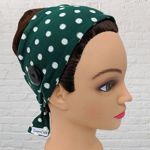 Ear-Saver Tie Headband- Green Polka Dot