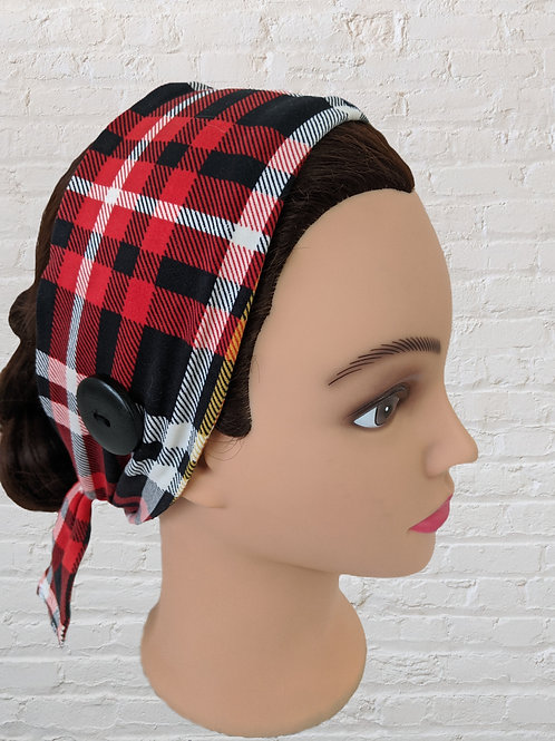 Ear-Saver Tie Headband - Red Plaid