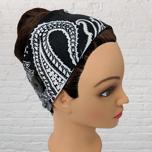 Ear-Saver Tie Headband - Black Paisley