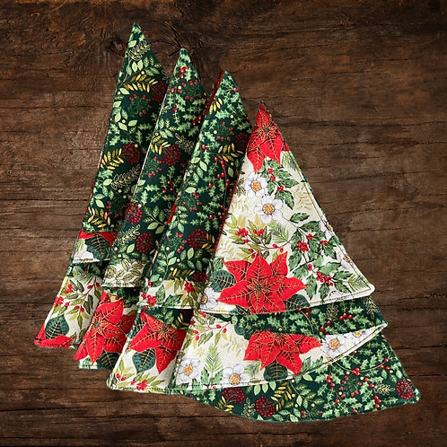Reversible Christmas Tree Napkins - White Poinsettia