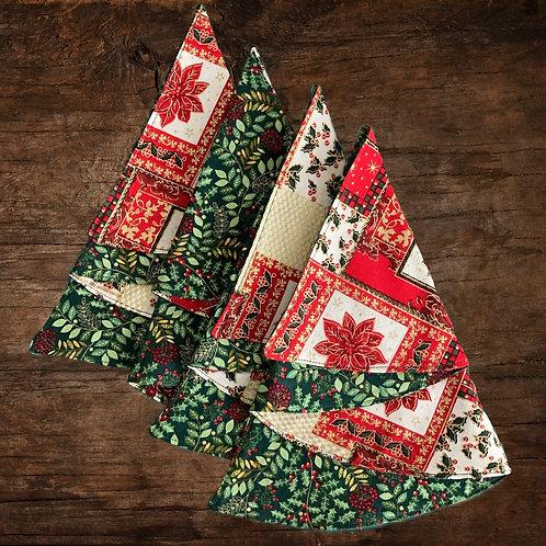 Reversible Christmas Tree Napkins - Red Poinsettia