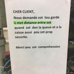 Message en caisse d'un supermarché – Covid19