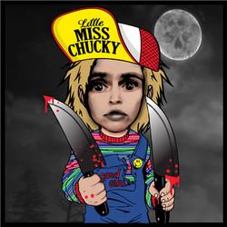 10.7 by 10,7 sticker LITTLE MISS CHUCKY.