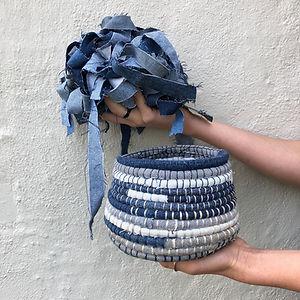 Fabric basket with strips.jpeg