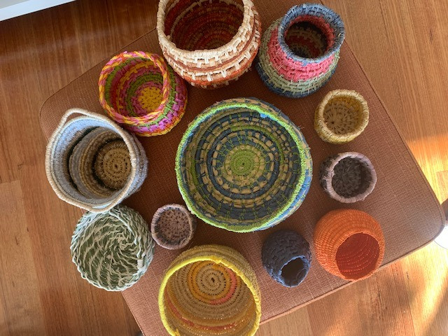 This is a group of Tina's baskets in a range of colours