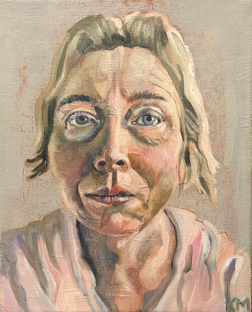 This is a self portrait painting of Kathleen.