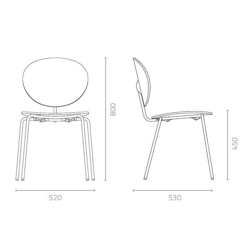 Ovni Side Chair Measurement
