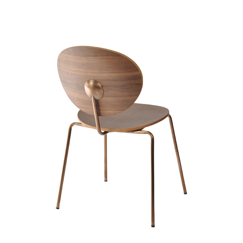 Ovni Side Chair Walnut Back Quarter View
