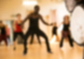 Dance class with instructor and close up