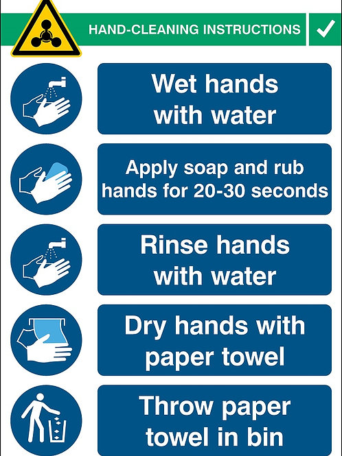 Hand Cleaning Instructions Sign