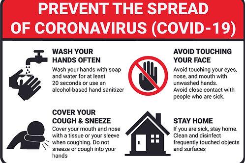 Prevent Spread Of Covid-19 Sign