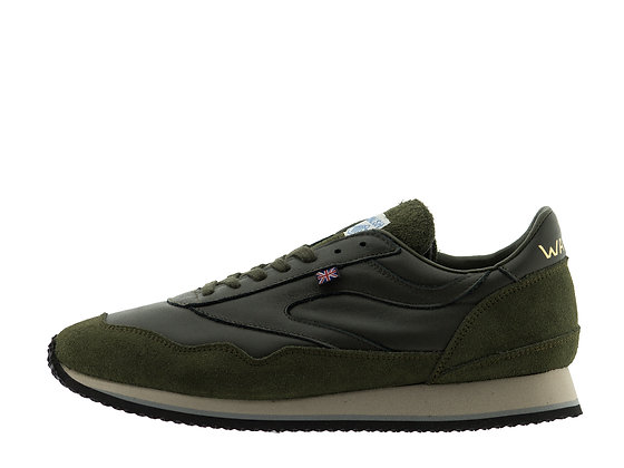norman walsh green leather suede trainers