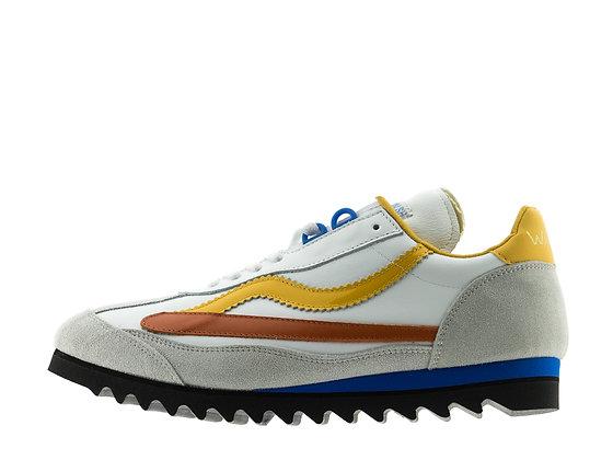 white fluorescent trainers