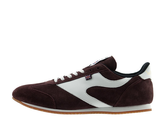 burgundy suede trainers