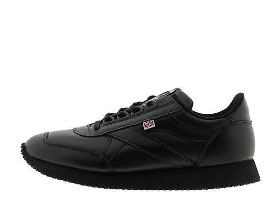 black leather smart trainers