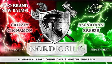 "Nordic Silk® - an all-natural beard conditioner & moisturizer. A hemp-based balm with a soft vanilla-almond aura ""touched with a hint of lime"" scent that deeply conditions and promotes healthy, stellar growth for ALL beard types. While treating your beard, it simultaneously moisturizes your skin while greatly reducing itchiness without the oily residue. Nordic Silk is specifically designed to foster thick and lush growth with an accentuating godlike sheen. It can also be comfortably used in either dry, or African American/ethnic hair in addition to being used solely as a daily moisturizer."