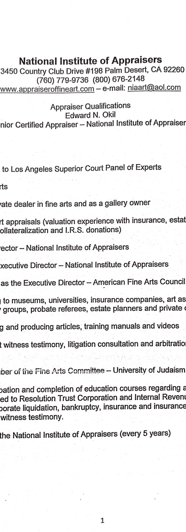 Appraiser Qualifications Page 1