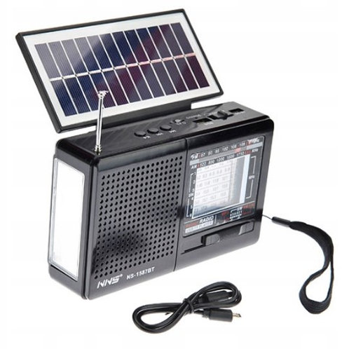 Radio recargable con panel solar.