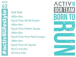 WOW 62 OCR, Trail running workout