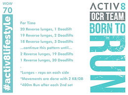 WOW 70 OCR, Trail running workout
