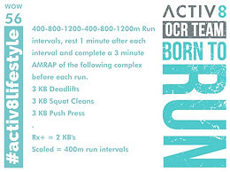 WOW 56 OCR, Trail running workout