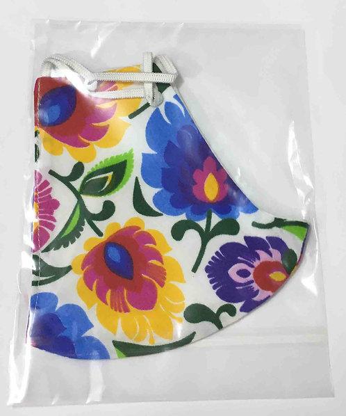 Masque lavable fleurs de Lowicz 100% coton. Réf : 0378 (Grand modèle)