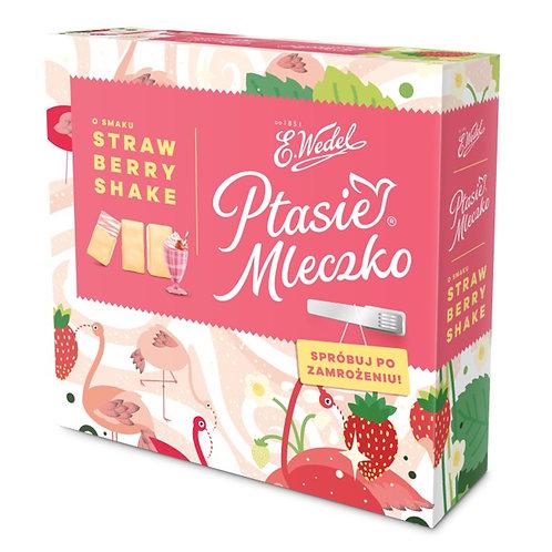 Mousse de lait au goût fraise enrobée de chocolat blanc (Ptasie Mleczko)