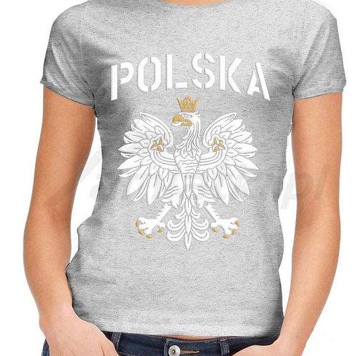 """T-shirt femme avec l'impression """"Polska"""" et l'aigle polonais."""