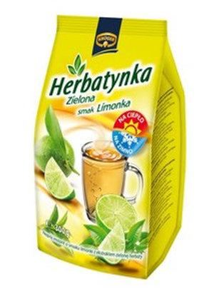 Thé vert instantané en granules, saveur citron.