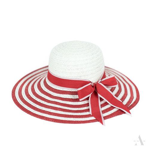 Chapeau de femme blanc et rouge