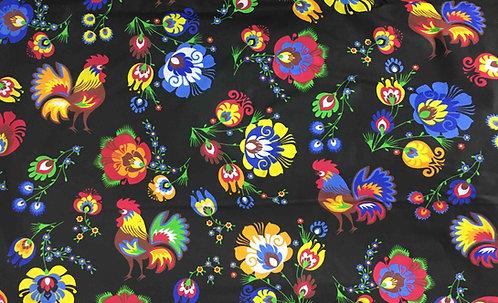 Tissus Fleurs de Lowicz et coqs fond noir (vendu au mètre/1,60 m) Réf L4