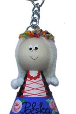 Porte-clés avec une poupée en bois
