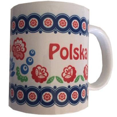 Mug polska décoration de fleurs