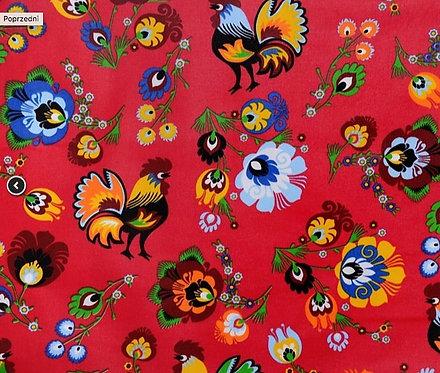Tissus Fleurs de Lowicz  coqs fond rouge (vendu au mètre/1,60 m) Réf L6