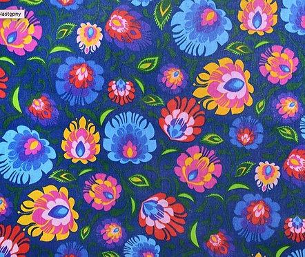 Tissus Fleurs de Lowicz fond bleu marine (vendu au mètre/1,60 m) Réf L3
