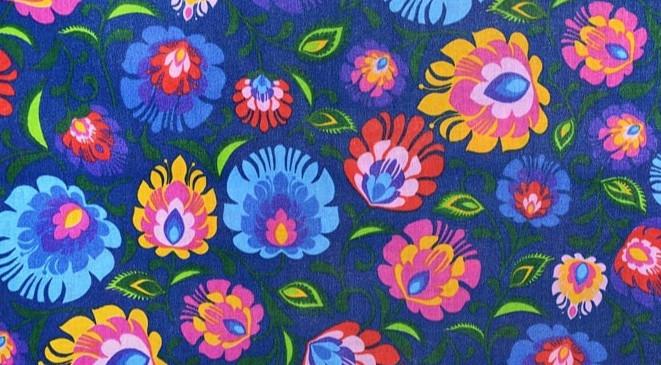 Tissu: motif Łowicz, fleurs sur fond bleu marine (A-2)