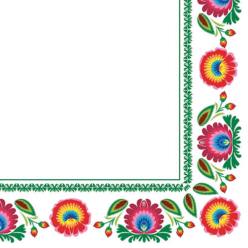 """Serviettes en papier - folk """"fleurs de Lowicz"""""""
