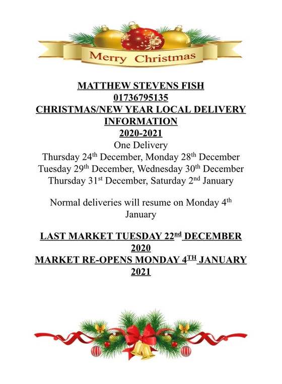 Our Christmas delivery schedule!