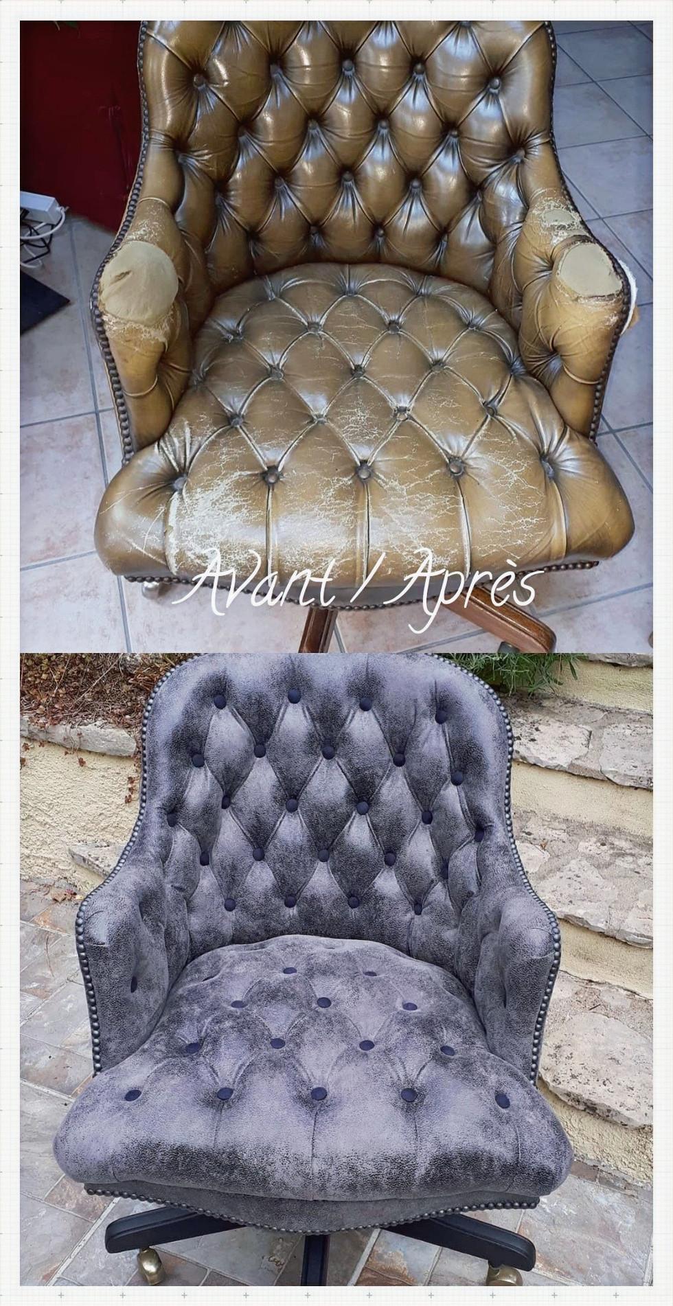 Avant-Après fauteuil capitonné