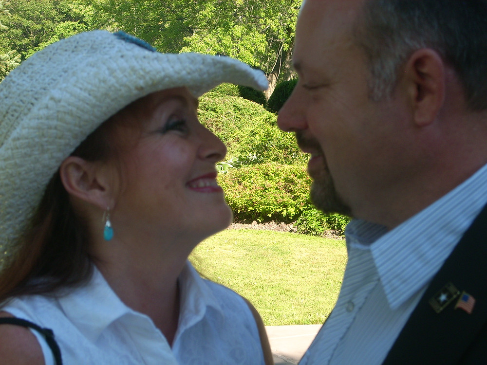 My husband and me-photographed in a moment like many; of loving respect for each other.