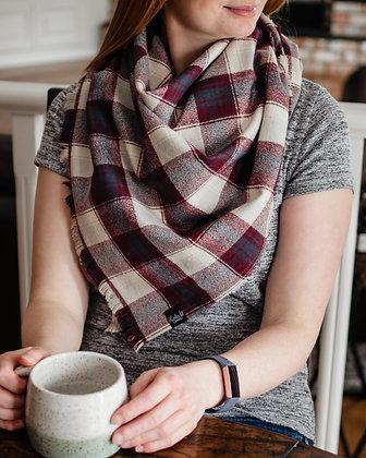 Plaid Blanket Scarf - Burgundy