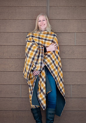 Plaid Rundle Wrap - Saffron