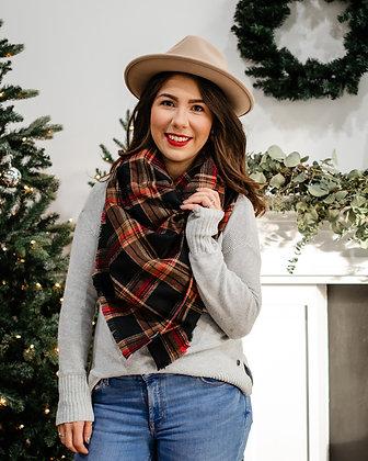 Plaid Blanket Scarf - Fleece Navidad