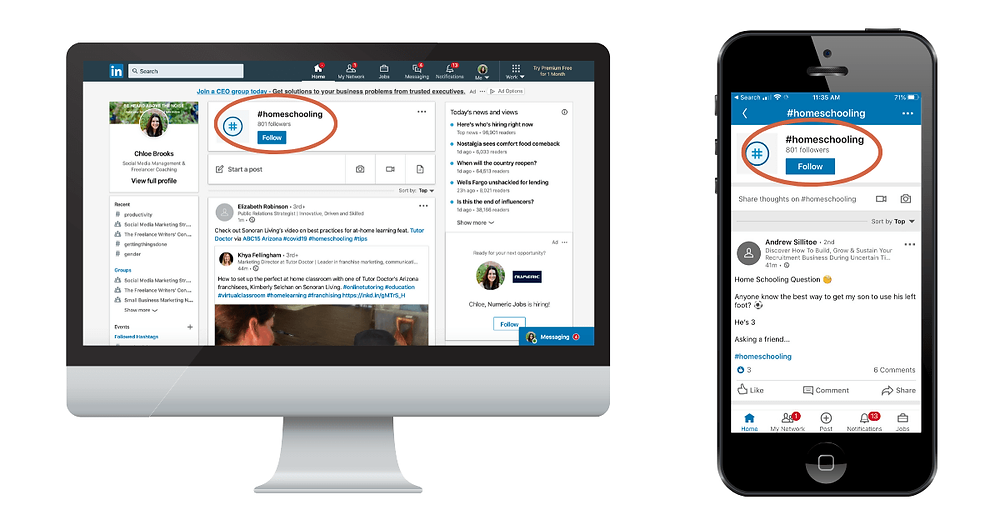 searching for hashtags on LinkedIn desktop and LinkedIn mobile