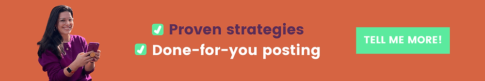 "call to action banner showing a photo of Chloe wearing a purple sweatshirt and holding a purple iPhone on an orange background. The text reads, ""Proven strategies, done-for-you posting."" A green button with white text read, ""Tell me more!"""