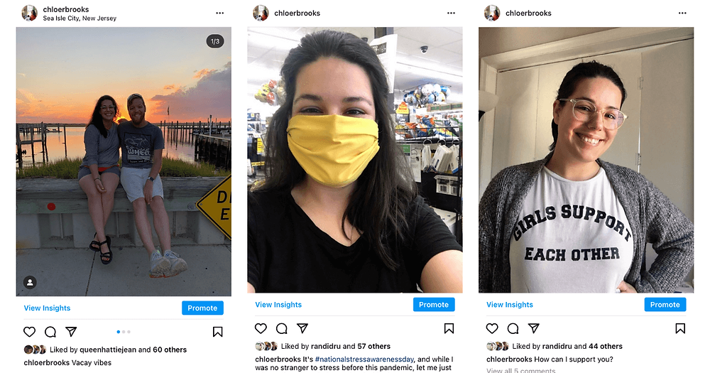 "A collage showing 3 screenshots of Instagram posts that were unedited or only slightly edited. The first image is Chloe and her fiance in front of a sunset; the second is a selfie of Chloe wearing a yellow mask; the third is a selfie of Chloe wearing a white t-shirt with black lettering that reads, ""Girls support each other."""