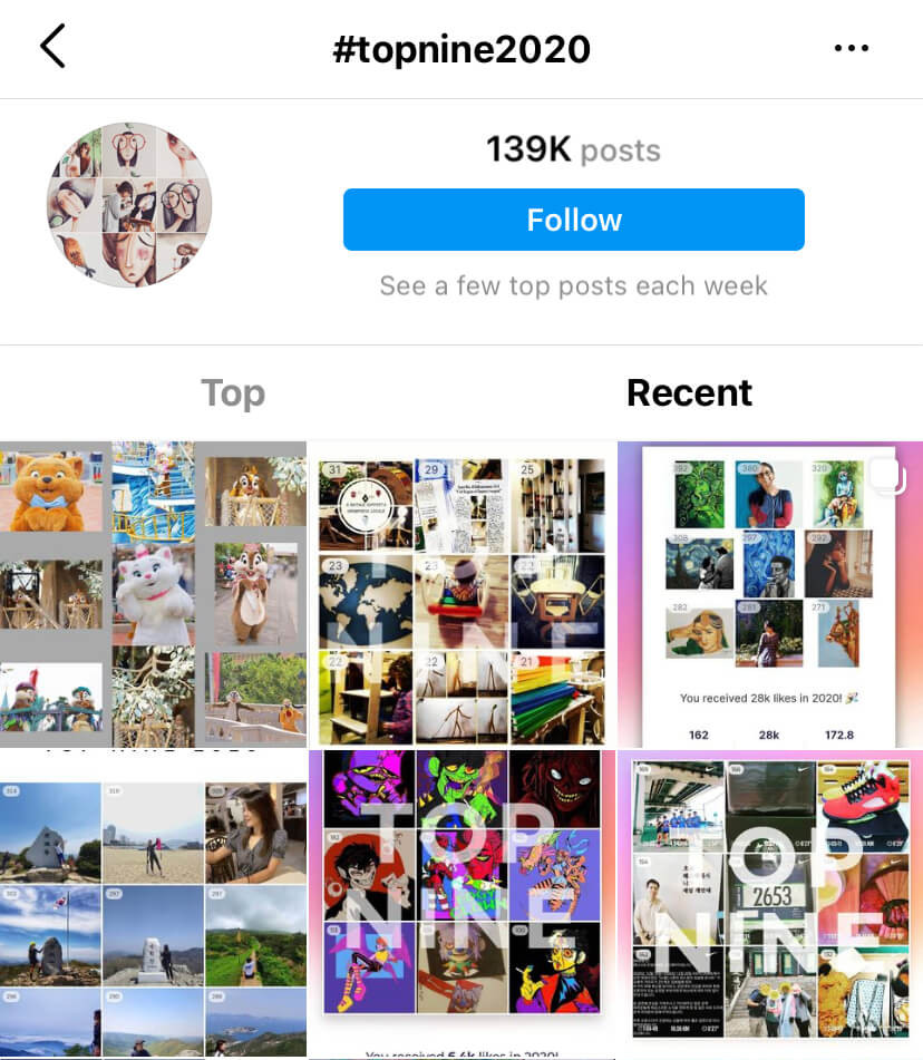 A screenshot from Instagram's hashtag search function showing results for the hashtag #topnine2020