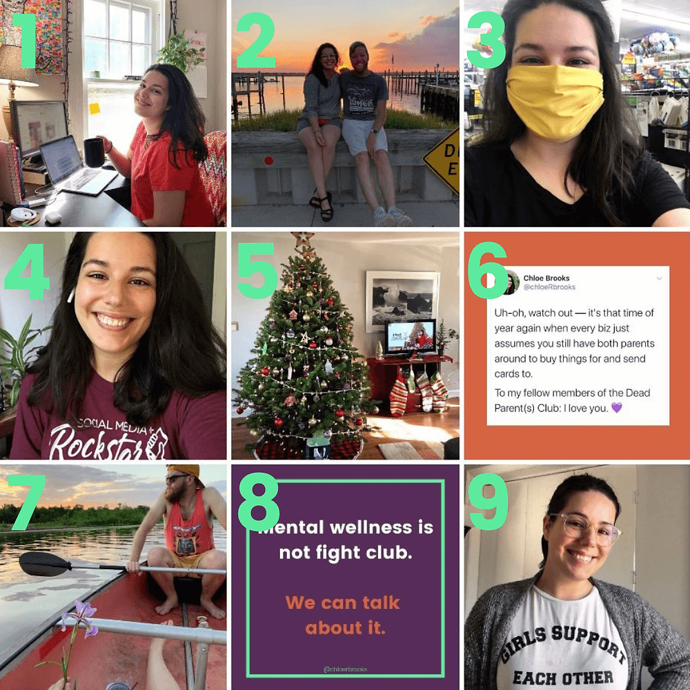 A collage of Chloe's 9 most-Liked Instagram posts from 2020.